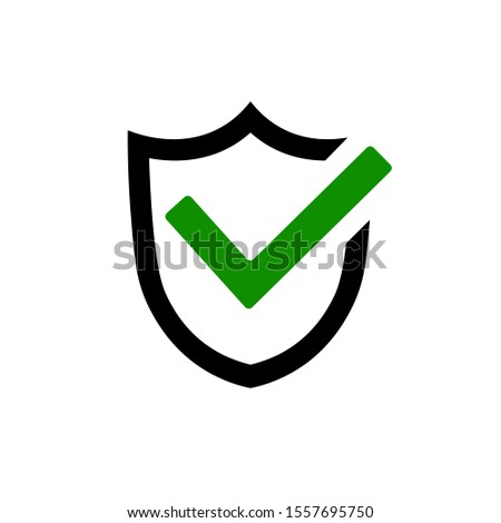 Mark approved icon in flat style. Shield icon with tick. Guard shield symbol. Abstract security vector icon illustration isolated on white background. Vector illustration for graphic design, Web, app.