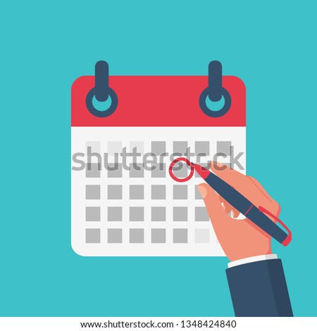 Mark calendar. Vector illustration flat style. Close-up hand businessman with red pen. Date circled. Cartoon style. Week day month. Mockup of page.