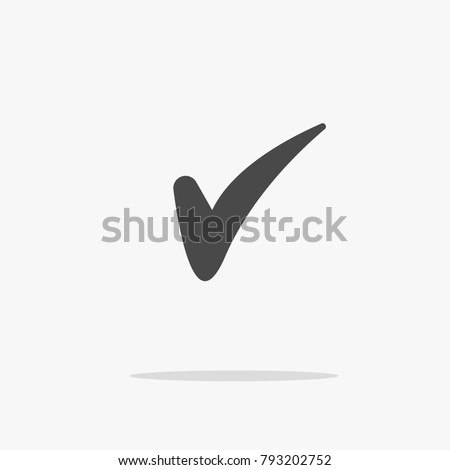 Mark or tick for correct approved and certified vector icon for websites social media gray with shadow