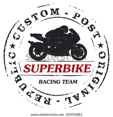 mark stamp with super bike and