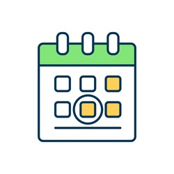 Marked date in calendar RGB color icon. Celebrate holiday. Circled day for appointment. Plan event on schedule, deadline for project. Weekly agenda. Booked date. Isolated vector illustration