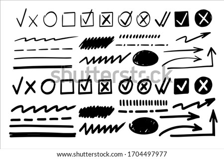 Marker check box. Hand drawn vector mark for list. Brush stroke, circle, round line, tick icon. Pen arrow, wrong mark, doodle cross, underline, handwritten pencil sketch. Black on white background Сток-фото ©