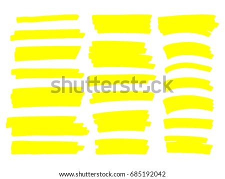 Marker lines. Vector highlighter brush lines. Hand drawing.