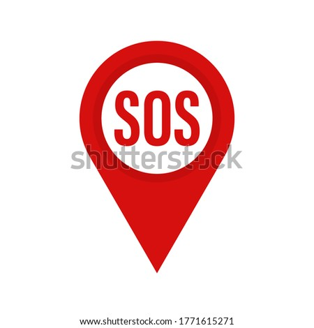 Marker location with SOS . Red mapping with SOS . Vector icon . Map pin , SOS sign . Help concept.10 eps Stockfoto ©