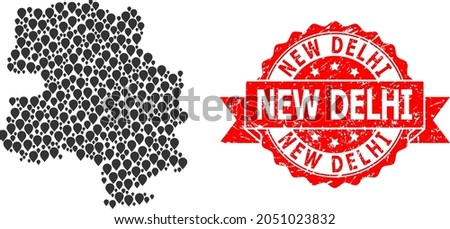 Marker mosaic map of New Delhi City and grunge ribbon stamp. Red stamp includes New Delhi caption inside ribbon. Abstract map of New Delhi City is organized of random navigation items.
