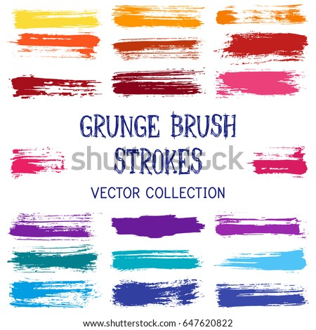 Marker pen scribble vector collection. Modern trendy brush stroke traces set, stylish paint or ink hand drawn splashes isolated on white background. Lines, stripes, paintbrush color palette.