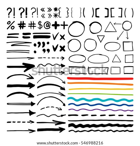 Marker pen written vector shapes. Highlight hand written arrows, lines and signs isolated on white background
