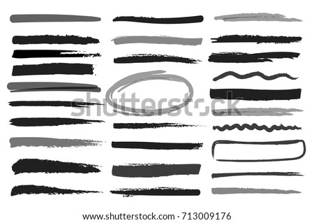 Markers highlight monochrome stripes. Drawing abstract dividers and marker strokes