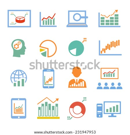 Market analysis statistics, business diagrams icons colored