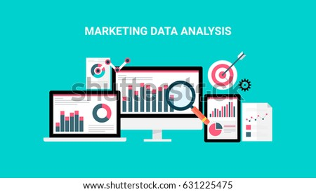 Market analysis, web data analytics software, data research flat vector concept with icons isolated on green background