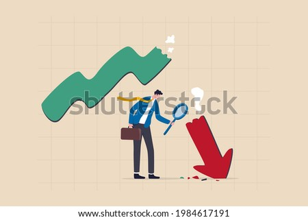 Market crash analysis, learn from failure or crisis and recession data, analyze or measure investment downturn concept, businessman analyst using magnification glass to look at red crash graph arrow. Stock foto ©