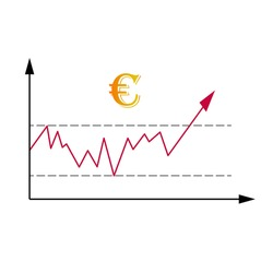 Market diagram of trade rate or price trend changing. Illustration of growing of the price of national European Union currency euro