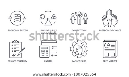 Market economy icons. Vector set icon financial symbol editable stroke. Economic system, laws of supply and demand private property freedom of choice. Competition free market laissez faire capital. Stock photo ©