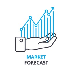 market forecast concept , outline icon, linear sign, thin line pictogram, logo, flat illustration, vector