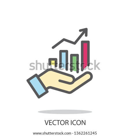 market forecast line sign, growth icon vector
