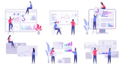 Market forecast. Trends analytics, business marketing strategy and market forecasting. Banking digital trading, blockchain finance analysis diagram. Flat vector isolated illustration icons set