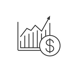 Market growth chart linear icon. Thin line illustration. Statistics diagram with dollar sign contour symbol. Vector isolated outline drawing