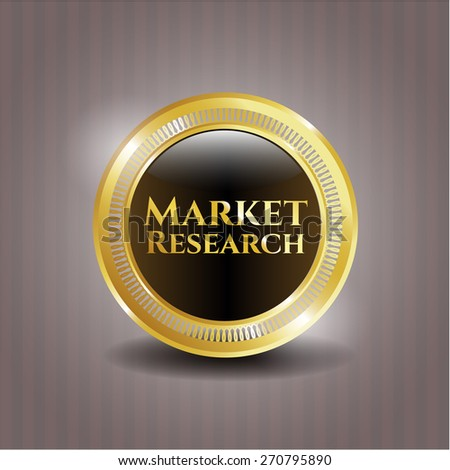 Market resarch gold shiny badge
