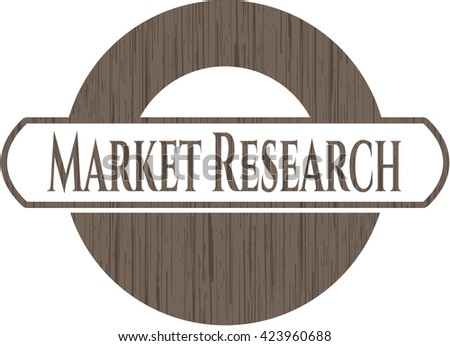 Market Research badge with wooden background