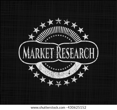 Market Research chalk emblem, retro style, chalk or chalkboard texture