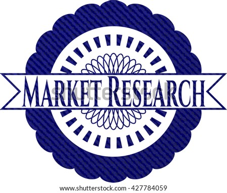 Market Research emblem with denim high quality background
