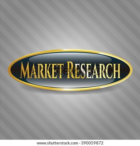 Market Research golden emblem or badge