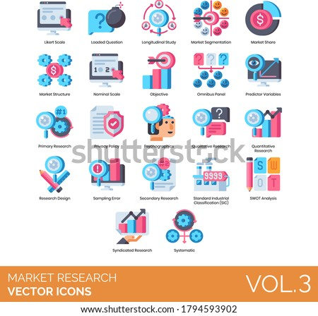 Market research icons including likert scale, longitudinal study, segmentation, nominal, objective, omnibus panel, psychographics, design, sampling error, SIC, SWOT analysis, syndicated, systematic. Stock photo ©