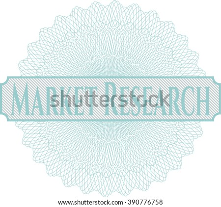 Market Research inside money style emblem or rosette