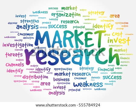 Market research word cloud collage, business concept background