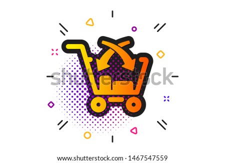 Market retail sign. Halftone circles pattern. Cross sell icon. Classic flat cross sell icon. Vector