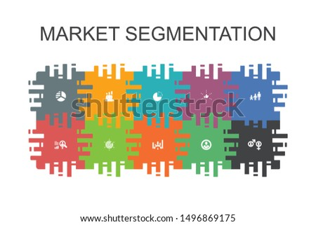 market segmentation cartoon template with flat elements. Contains such icons as demography, segment, Benchmarking