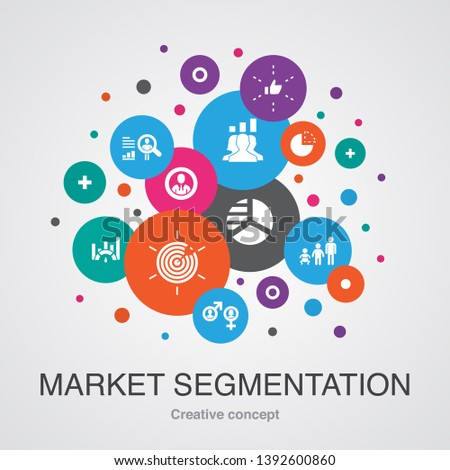 market segmentation concept template. Modern design style. Contains such icons as demography, segment, Benchmarking, Age group
