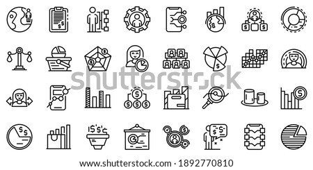 Market segmentation icons set. Outline set of market segmentation vector icons for web design isolated on white background