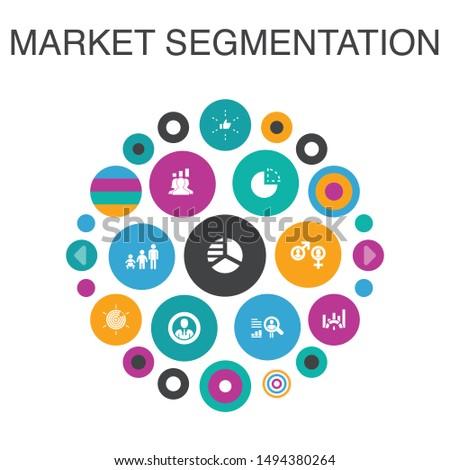 market segmentation Infographic circle concept. Smart UI elements demography, segment, Benchmarking