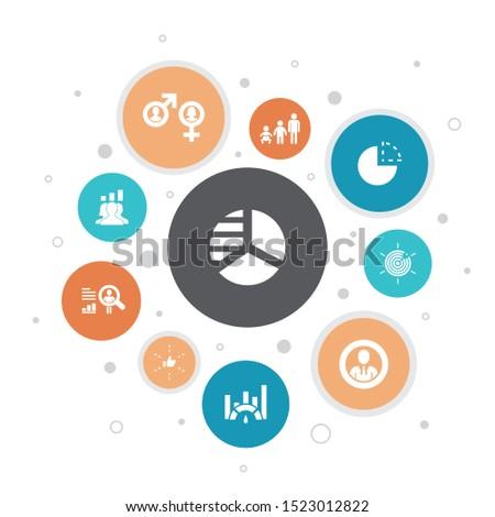market segmentation Infographic 10 steps bubble design.demography, segment, Benchmarking, Age group icons