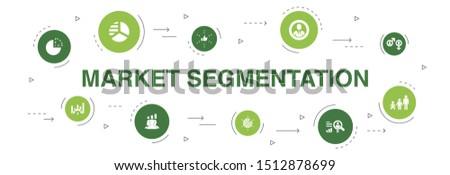 market segmentation Infographic 10 steps circle design. demography, segment, Benchmarking, Age group icons