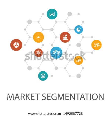market segmentation presentation template, cover layout and infographics. demography, segment, Benchmarking, Age icons