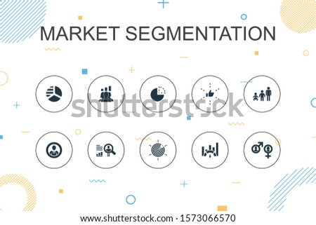 market segmentation trendy Infographic template. Thin line design with demography, segment, Benchmarking, Age group icons