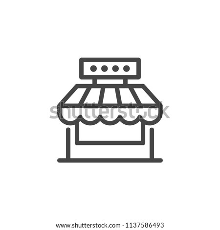 Market shop line icon. Kiosk, store, retail graphic pictograph. Street food concept linear label. Contour logo commercial market place. Vector illustration isolated on white