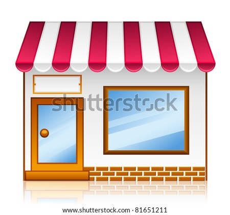 Market shop. Vector market shop icon set isolated on white background.
