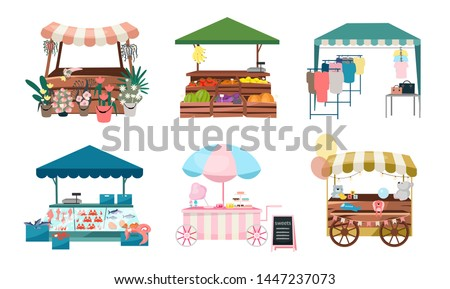 Market stalls flat vector illustrations set. Fair, funfair trade tents, outdoor kiosks and carts. Street shopping places cartoon concepts. Summer market counters for flowers, vegetables, clothes goods