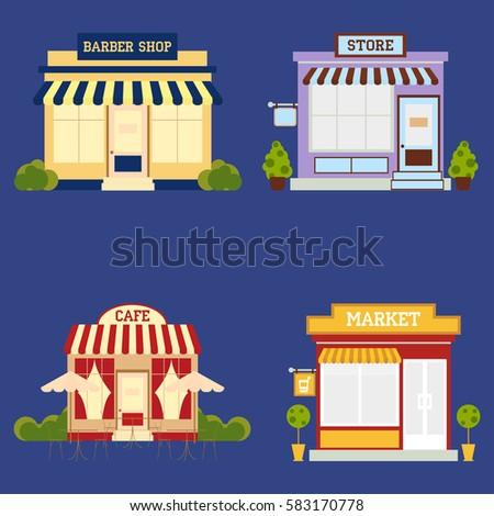 Market street store barbershop cafe building facade set small shop front shopping design detailed illustration Vector
