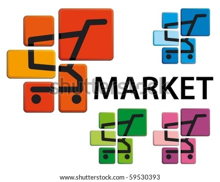 Market symbol - the image of the store cart on buttons