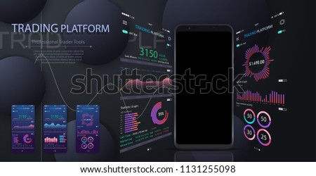 Market trade. Binary option. Trading platform, account. Money Making, business. Market analysis. Investing. Screen of user interface for phone, laptop, tablet. Modern 3d trade app