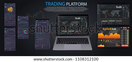 Market trade. Binary option. Trading platform, account. Press Call and Win transaction. Money Making, business. Market analysis. Investing. Screen of user interface for phone, laptop, tablet