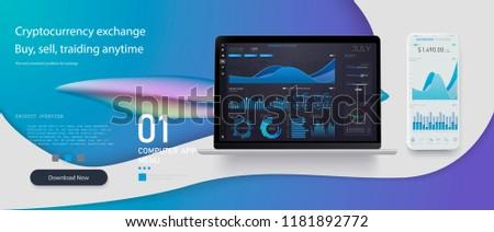Market trade. Binary option. Trading platform, account. Press Call and Win transaction. Money Making, business. Market analysis. Investing. Screen of user interface for phone, laptop.