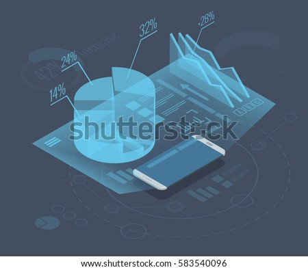 Market trend analysis on smartphone with graphs, isometric flat design infographic on colored background. Futuristic hi tech mobile phone hologram projector conceptual vector illustration, eps10.