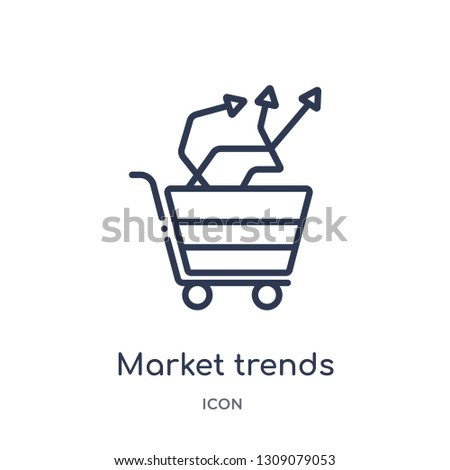 market trends icon from startup stategy and success outline collection. Thin line market trends icon isolated on white background.