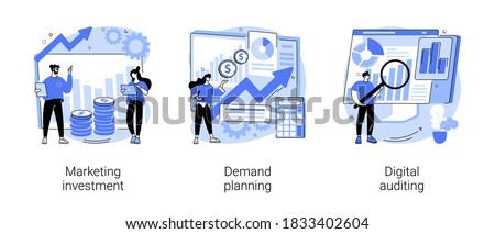 Marketing accounting abstract concept vector illustration set. Marketing investment, demand planning, digital auditing, business plan, finance management, digital sales, revenue abstract metaphor.