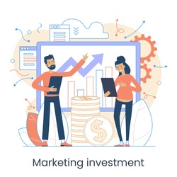 Marketing accounting concept. Finance management. Marketing investment. Digital auditing, business plan. Digital sales. Demand planning, Graphic elements set. Vector illustration in flat style.